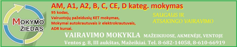 """UAB """"Mokymo Žiedas"""" – vairavimo mokykla Mažeikiuose. tel. 8-682-14058, 8-610-66919, mokymoziedas@gmail.com, Adresas: Ventos 8, III aukštas, Mažeikiai"""